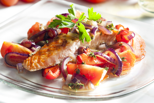 Salmon with Chopped Vegetables