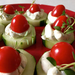 Healthy Holiday Appetizers - Santa Hats
