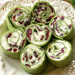 Healthy Holiday Appetizers - Cranberry Feta Pinwheels