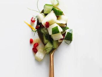 Chopped cucumber, pear, fennel salad
