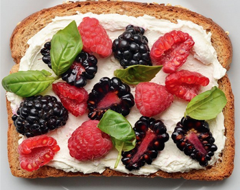 Favorite Spring Snacks and Sweets - Basil and Berry Cream Cheese Toast