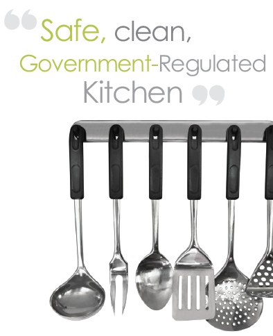 Safe, Clean, FDA and USDA-certified kitchen.