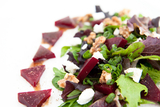 Roasted Beets and Asparagus over Fresh Greens